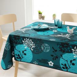 Rechthoek 200 tafelkleed 100% polyester, vochtafstotend. Blauw met kraanvogel