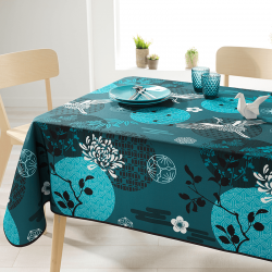 Rectangle 240 tablecloth 100% polyester, moisture repellent. Blue with crane bird