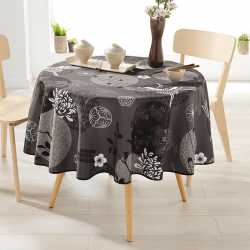 Rond 160 tafelkleed 100 % polyester, vocht afstotend. Antraciet met kraanvogel