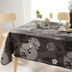 Rectangle 200 tablecloth 100% polyester, moisture repellent. Anthracite with crane bird
