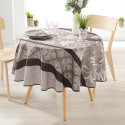 Round 160 tablecloth 100% polyester, moisture repellent. Taupe with ornaments