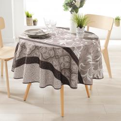 Rond 160 tafelkleed 100 % polyester, vocht afstotend. Taupe met ornamenten