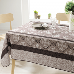 Rectangle 240 tablecloth 100% polyester, moisture repellent. Taupe with ornaments