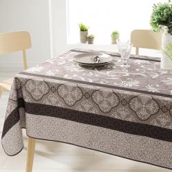 Rechteck 240 cm Tischdecke 100% Polyester, feuchtigkeitsabweisend. Taupe mit Ornamenten.