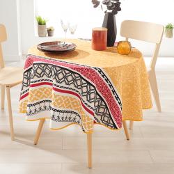 Rond 160 tafelkleed 100 % polyester, vocht afstotend. Geel met bloemen
