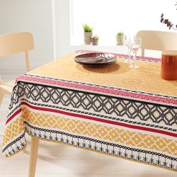 Rechthoek 200 tafelkleed 100% polyester, vochtafstotend. Geel met bloemen