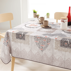 Rectangle 240 tablecloth 100% polyester, moisture repellent. Ecru with hearts and letters