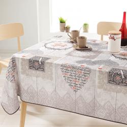 Rechteck 240 cm Tischdecke 100% Polyester, feuchtigkeitsabweisend. Ecru mit Herzen und Buchstaben