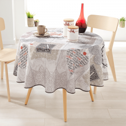 Round 160 tablecloth 100% polyester, moisture repellent. Ecru with hearts and letters