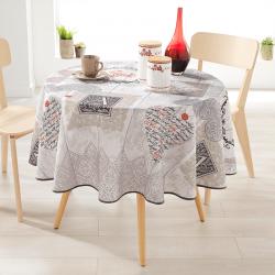 Rond 160 tafelkleed 100 % polyester, vocht afstotend. Ecru met harten en letters