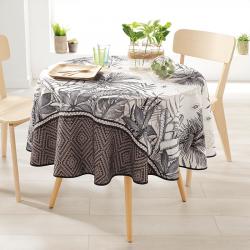 Rond 160 tafelkleed 100 % polyester, vocht afstotend. Ecru, taupe, bladeren