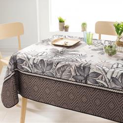 Rechteck 200 cm Tischdecke 100% Polyester, feuchtigkeitsabweisend. Ecru, Taupe, Blätter