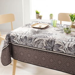 Rectangle 240 tablecloth 100% polyester, moisture repellent. Ecru, taupe, leaves