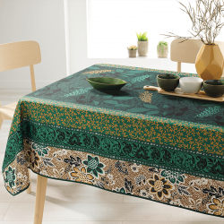 Rectangle 240 tablecloth 100% polyester, moisture repellent. Green, brown, with leaves
