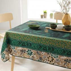 Rechthoek 240 tafelkleed 100% polyester, vochtafstotend. Groen, bruin, met bladeren
