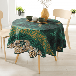 Around 160 tablecloth 100% polyester, moisture repellent. Green, brown, with leaves