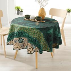 Rond 160 tafelkleed 100 % polyester, vocht afstotend. Groen, bruin, met bladeren