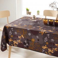 Rectangle 240 tablecloth 100% polyester, moisture repellent. Brown, with leaves