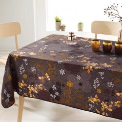 Rechthoek 200 tafelkleed 100% polyester, vochtafstotend. Bruin, met bladeren