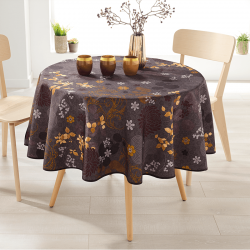 Around 160 tablecloth 100% polyester, moisture repellent. Brown, with leaves