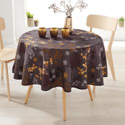 Rond 160 tafelkleed 100 % polyester, vocht afstotend. Bruin, met bladeren
