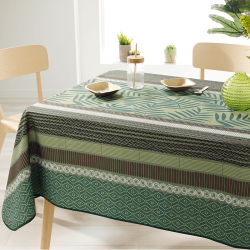 Rectangle 240 tablecloth 100% polyester, moisture repellent. Green with leaves