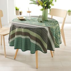 Around 160 tablecloth 100% polyester, moisture repellent. Green with leaves