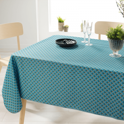 Rectangle 240 tablecloth 100% polyester, moisture repellent. Blue with arches