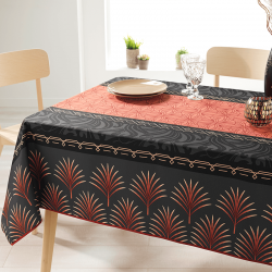 Rectangle 200 tablecloth 100% polyester, moisture repellent. Black, red with palm leaf
