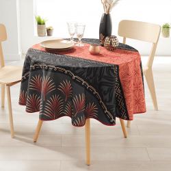 Rund 160 Tischdecke 100% Polyester, feuchtigkeitsabweisend. Schwarz, rot mit Palmblatt