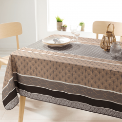 Rectangle 240 tablecloth 100% polyester, moisture repellent. Taupe with arches