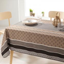 Rechthoek 240 tafelkleed 100% polyester, vochtafstotend. Taupe met bogen