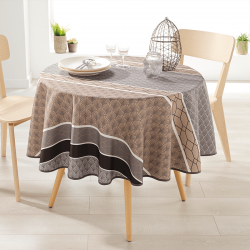 Rond 160 nappes 100% polyester, hydratante. Taupe met bogen