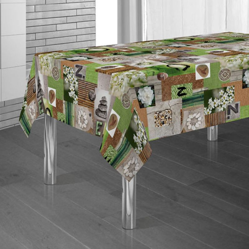 Tablecloth stone man green zen 300 X 148 French tablecloths