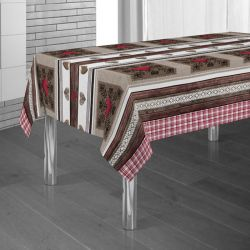 Tablecloth brown, red with hearts 300 X 148 French tablecloths