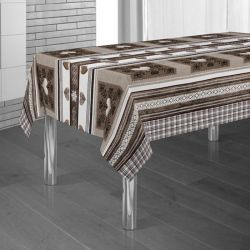 Tablecloth brown, beige with hearts 300 X 148 French tablecloths