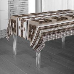 Tischdecke braun, beige mit Herzen 300 X 148 französische Tischdecken