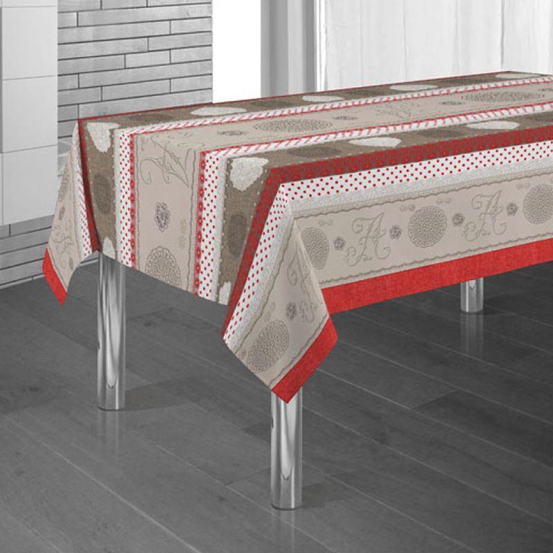 Tafelkleed rood, bruin en beige met rondjes 300 X 148 Franse Tafelkleden