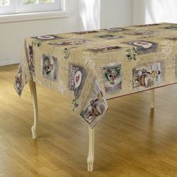 Tablecloth beige with lady with washtub 300 X 148 French tablecloths