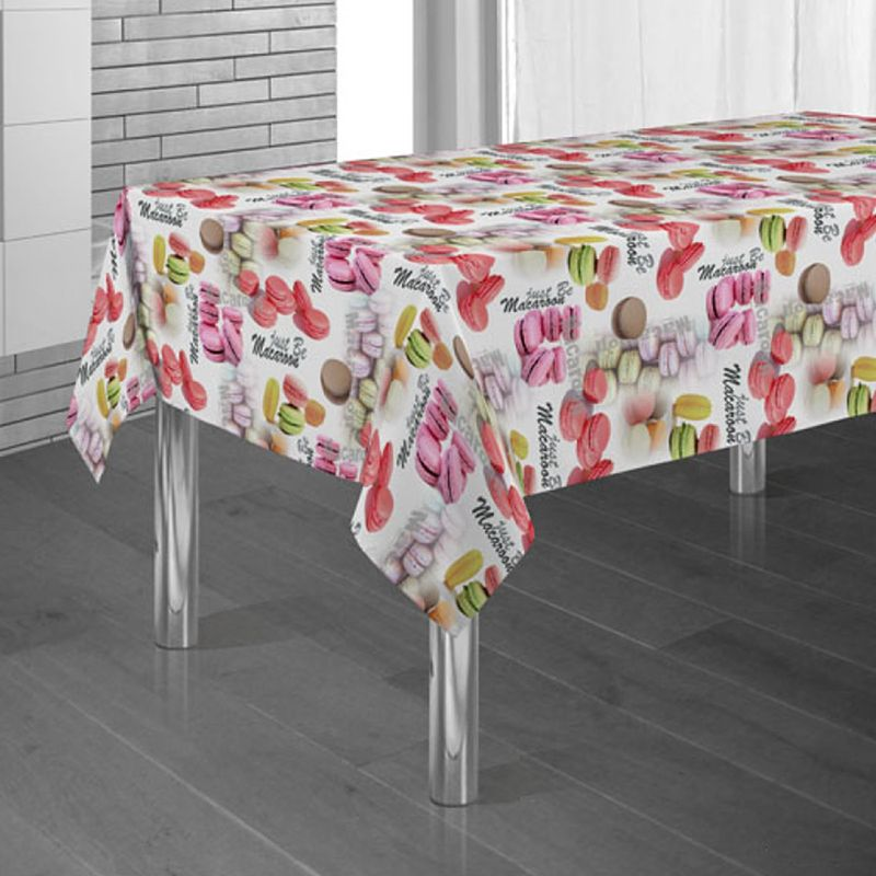 Tablecloth white with macaron 300 X 148 French tablecloths