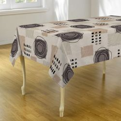 Tablecloth beige, taupe with circles 300 X 148 French tablecloths