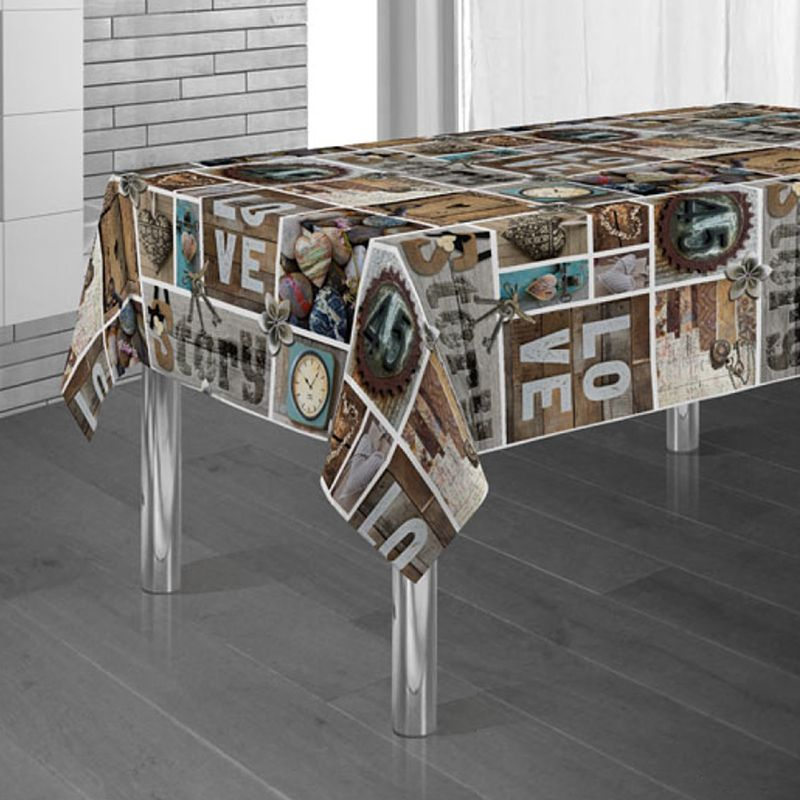 Tablecloth brown with letters figures and hearts 300 X 148 French tablecloths