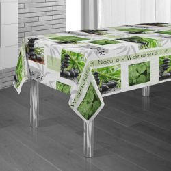 Tablecloth green stone man and bamboo 300 X 148 French tablecloths