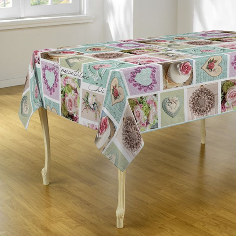 Tablecloth mint with flowers and hearts 300 X 148 French tablecloths