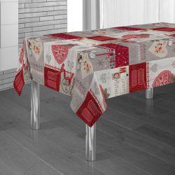 Tischdecke rot mit ecru Weihnachten 300 X 148 Französisch Tischdecken
