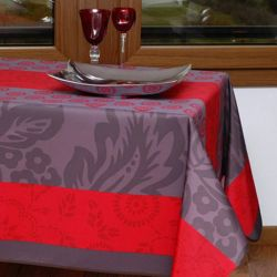 Tablecloth red stripe leaves 240 X 148 French tablecloths