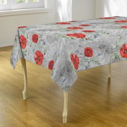 Tablecloth gray with poppy flowers 240 X 148 French tablecloths