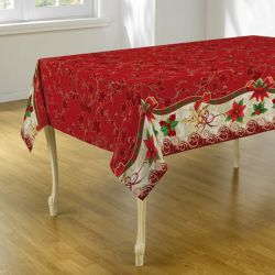 Tablecloth red Christmas 240 X 148 French Tablecloths