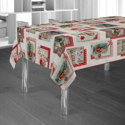 Tablecloth beige Santa Claus Christmas 240 X 148 French Tablecloths