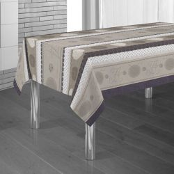 Tablecloth lilac, brown and beige with hearts 350 X 148 French tablecloths